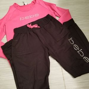 Girls BEBE rhinstone jogger set